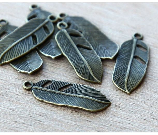 24x9mm Small Feather Charms, Antique Brass, Pack of 10