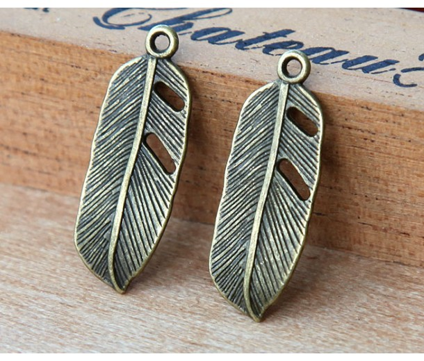 24x9mm Small Feather Charms, Antique Brass
