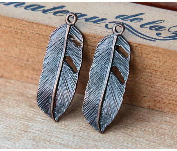 24x9mm Small Feather Charms, Antique Copper, Pack of 10