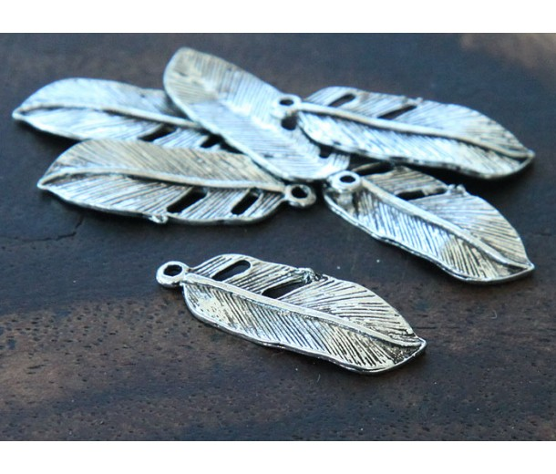 24x9mm Small Feather Charms, Antique Silver, Pack of 10