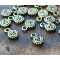 11mm Smiling Sun Charms, Antique Brass