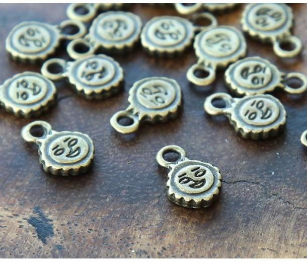 11mm Smiling Sun Charms, Antique Brass, Pack of 20