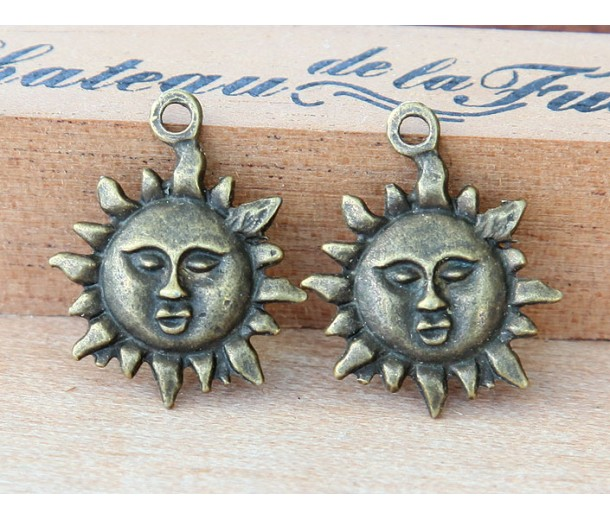 22mm Sun Face Charms, Antique Brass