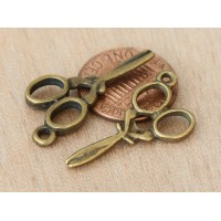 30x13mm Scissors Charms, Antique Brass, Pack of 10