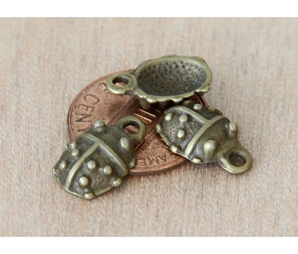 14x9mm Ladybug Charms, Antique Brass, Pack of 8