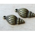 24x13mm Conic Shell Charms, Antique Brass, Pack of 5