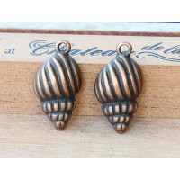 24x13mm Conic Shell Charms, Antique Copper, Pack of 5