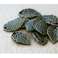 16x9mm Leaf Charms, Antique Brass, Pack of 10