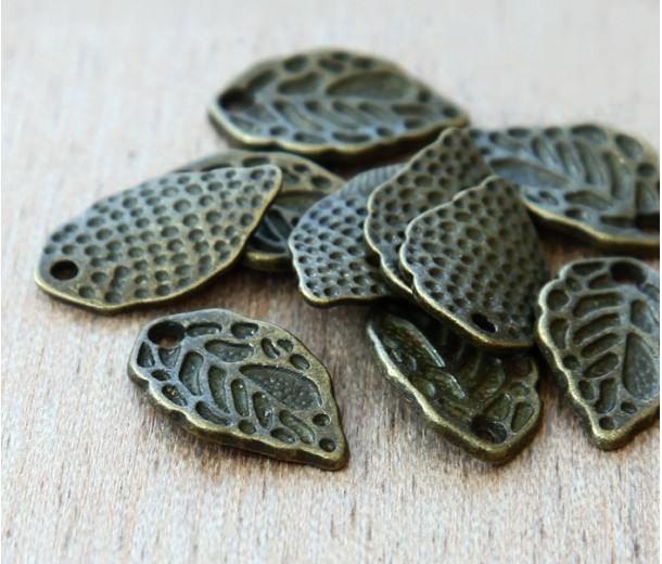 16x9mm Leaf Charms, Antique Brass