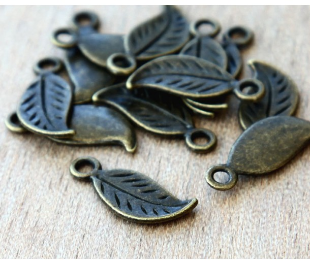 17x7mm Leaf Charms, Antique Brass, Pack of 10