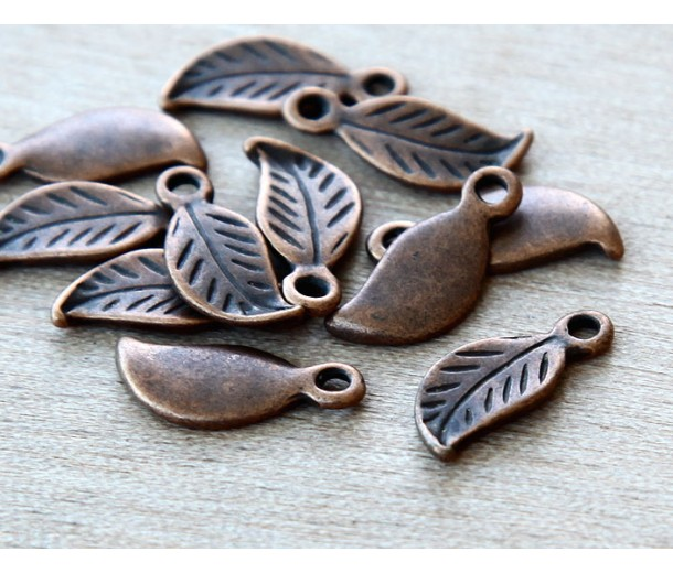 17x7mm Leaf Charms, Antique Copper