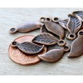 17x7mm Leaf Charms, Antique Copper, Pack of 10