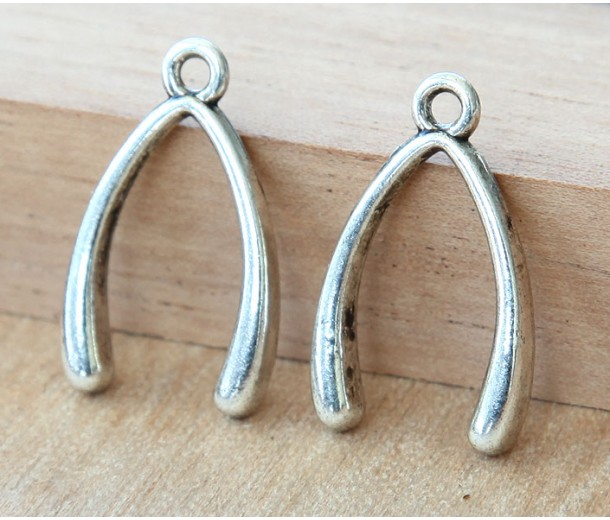 24x14mm Wishbone Charms, Antique Silver