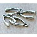 24x14mm Wishbone Charms, Antique Silver, Pack of 8
