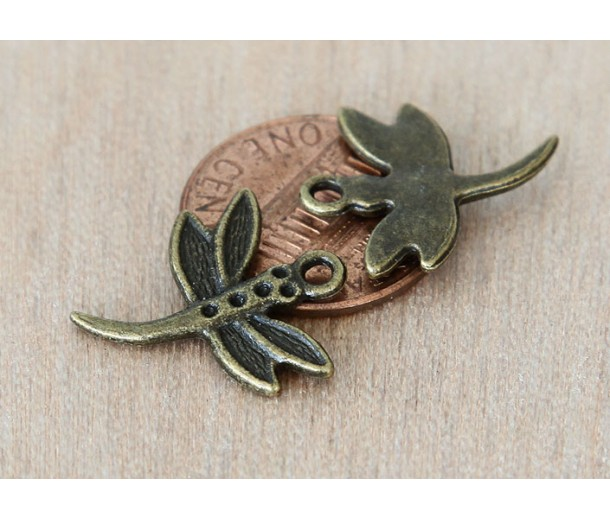 20x18mm Dragonfly Charms, Antique Brass
