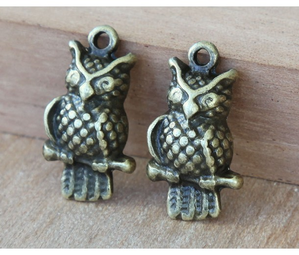 21x12mm Puff Owl Charms, Antique Brass