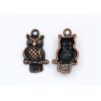 21x12mm Puff Owl Charms, Antique Copper, Pack of 10