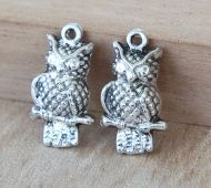 21x12mm Puff Owl Charms, Antique Silver