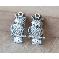 21x12mm Puff Owl Charms, Antique Silver, Pack of 10