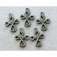 19x14mm Celtic Cross Charms, Antique Brass, Pack of 10