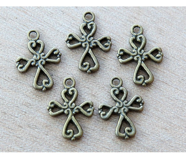 19x14mm Celtic Cross Charms, Antique Brass