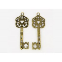 58x22mm Ornate Key Charm, Antique Brass, 1 Piece