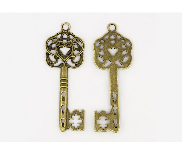 58x22mm Ornate Key Charm, Antique Brass, 1 Piece