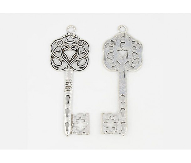58x22mm Ornate Key Charm, Antique Silver, 1 Piece