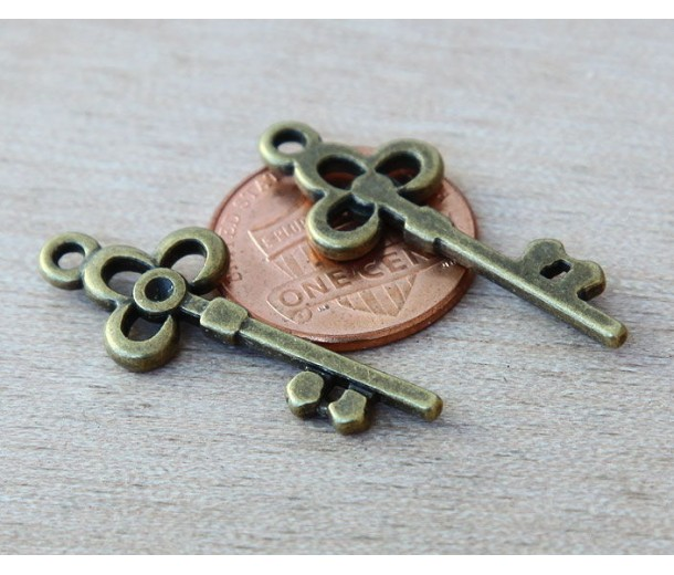 31x12mm Flower Key Charms, Antique Brass, Pack of 8