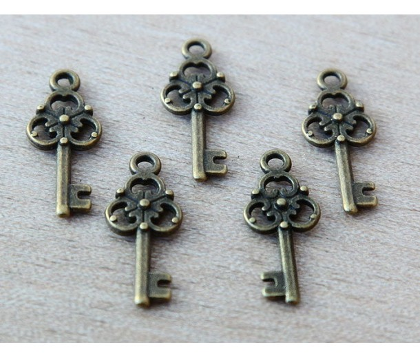 23x9mm Small Ornate Key Charms, Antique Brass, Pack of 10