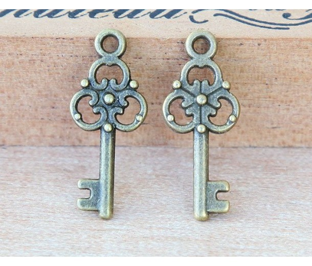 23x9mm Small Ornate Key Charms, Antique Brass