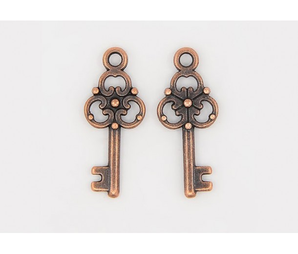 23x9mm Small Ornate Key Charms, Antique Copper, Pack of 10