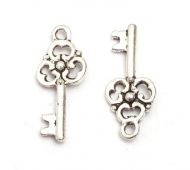 23x9mm Small Ornate Key Charms, Antique Silver
