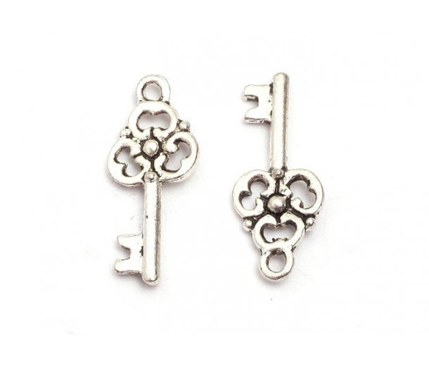 23x9mm Small Ornate Key Charms, Antique Silver, Pack of 10