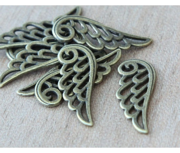 25mm Angel Wing Charms, Antique Brass