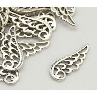25mm Angel Wing Charms, Antique Silver, Pack of 10