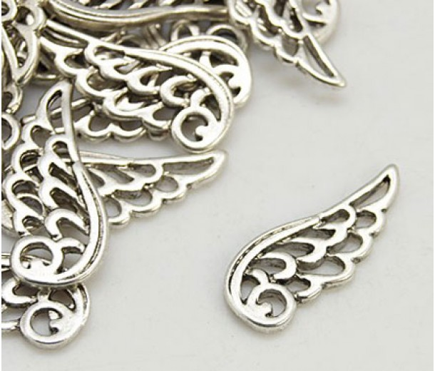 25mm Angel Wing Charms, Antique Silver