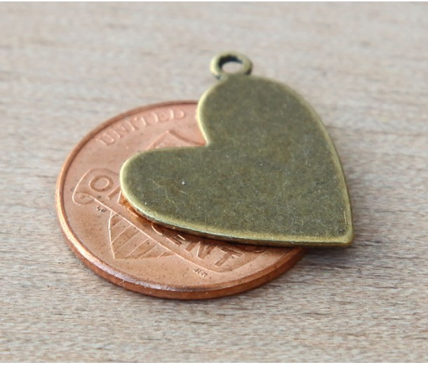 20mm Amour Heart Charms, Antique Brass, Pack of 6