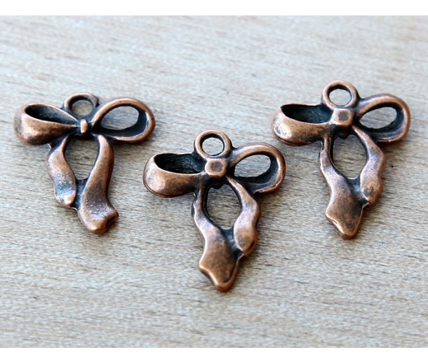 22mm Small Bow Charms, Antique Copper, Pack of 5