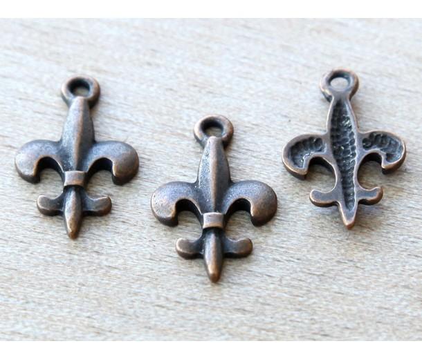 20x13mm Small Fleur-de-Lis Charms, Antique Copper, Pack of 10