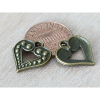 17mm Studded Heart Charms, Antique Brass, Pack of 8