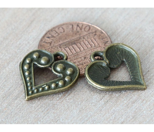 17mm Studded Heart Charms, Antique Brass