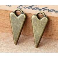 22mm Fancy Heart Charms, Antique Brass, Pack of 6