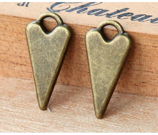 22mm Fancy Heart Charms, Antique Brass