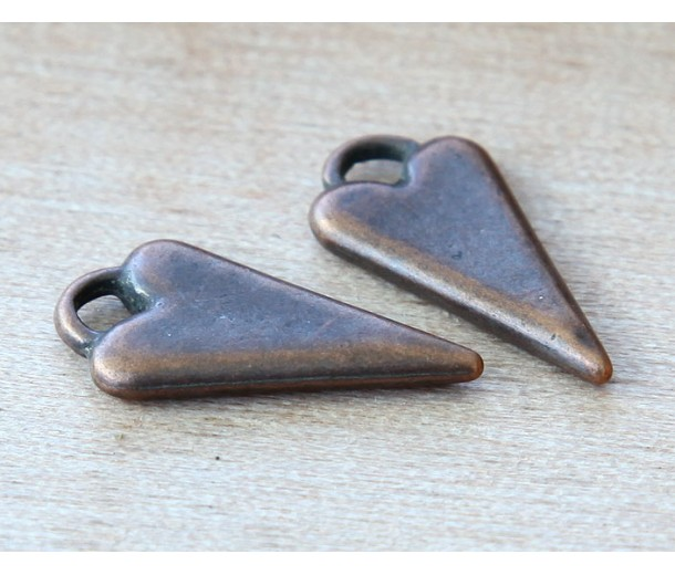 22mm Fancy Heart Charms, Antique Copper, Pack of 6
