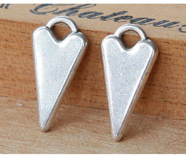 22mm Fancy Heart Charms, Antique Silver, Pack of 6