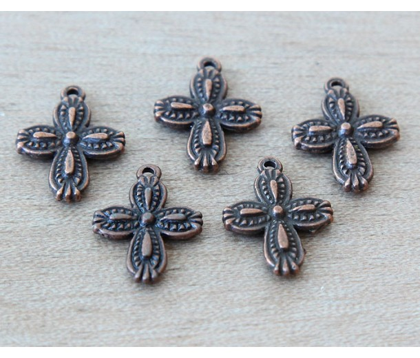 18x13mm Fancy Beaded Cross Charms, Antique Copper