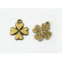 21x17mm Clover Charms, Antique Brass, Pack of 5