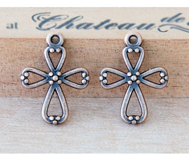 21mm Cross Charms with Beaded Ends, Antique Copper, Pack of 10