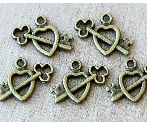 18mm Heart with Key Charms, Antique Brass, Pack of 10